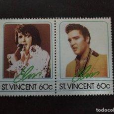 Sellos: ST. VINCENT - SELLOS LEYENDAS DE LA MUSICA- EL REY DEL ROCK: ELVIS PRESLEY. Lote 221733107