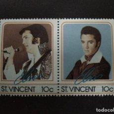 Sellos: ST. VINCENT - SELLOS LEYENDAS DE LA MUSICA- EL REY DEL ROCK: ELVIS PRESLEY. Lote 221733413