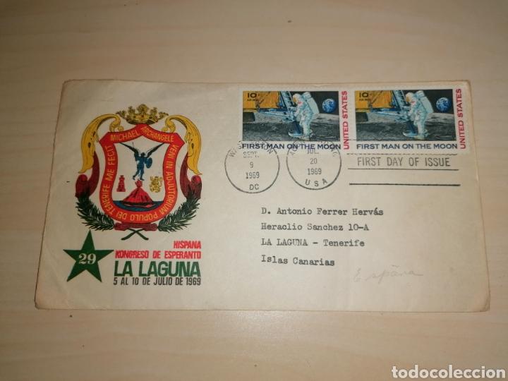 SOBRE 29 CONGRESO ESPERANTO, LA LAGUNA, 1969 - SELLOS FIRST MAN ON THE MOON, 1969 (Sellos - Temáticas - Varias)