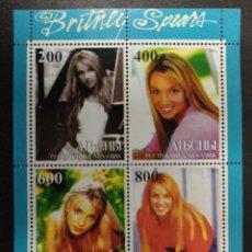 Sellos: BRITNEY SPEARS POP MUSIC RECUERDO HOJA DE SELLOS PARA COLECCIONISTAS – 4 SELLOS/2000/ALBANIA/MNH. Lote 221788357