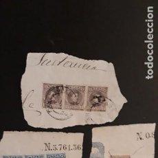 Sellos: 3 FRAGMENTOS CON ** 7 SELLOS HACIENDO DE POLIZAS 1908? **. Lote 222239273