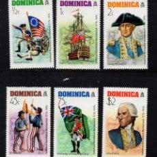 Sellos: DOMINICA 465/70** - AÑO 1976 - BICENTENARIO DE LA INDEPENDENCIA DE ESTADOS UNIDOS. Lote 222359012
