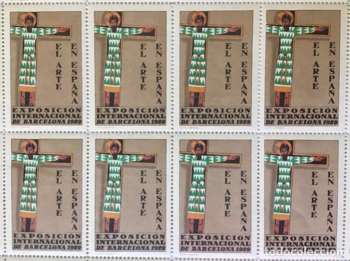 Sellos: HOJA ENTERA DE 50 VIÑETAS. EXPOSICIÓN INTERNACIONAL DE BARCELONA 1929. EL ARTE EN ESPAÑA. - Foto 2 - 222783671
