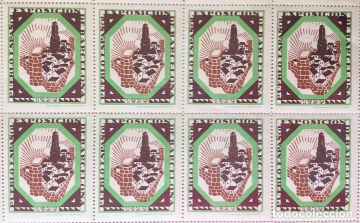 Sellos: HOJA ENTERA DE 50 VIÑETAS. EXPOSICIÓN INTERNACIONAL DE BARCELONA 1929. PUEBLO ESPAÑOL. - Foto 2 - 222785491