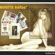 Sellos: MALAWI 2006 HOJA BLOQUE SELLOS CINE DE LA ACTRIZ BRIGITTE BARDOT. Lote 222983856