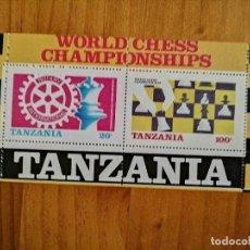 Sellos: TANZANIA - HOJA BLOQUE - CAMPEONATO DEL MUNDO DE AJEDREZ 1986. Lote 225563780