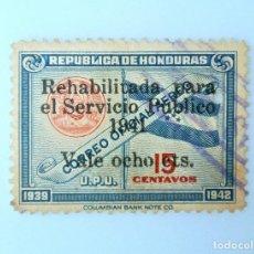 Sellos: ANTIGUO SELLO POSTAL HONDURAS 1941, 8 CTS, BANDERA Y SELLO DE HONDURAS, OVERPRINT REHABILITADO,USADO. Lote 226070818