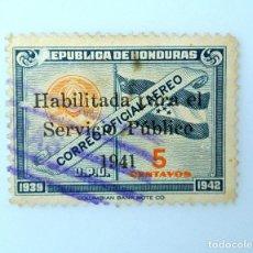 Sellos: ANTIGUO SELLO POSTAL HONDURAS 1941, 5 CENTAVOS, BANDERA Y SELLO DE HONDURAS, OVERPRINT HAB., USADO. Lote 226072495