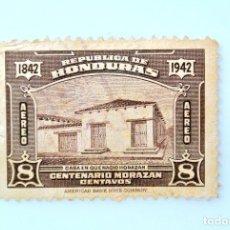 Sellos: ANTIGUO SELLO POSTAL HONDURAS 1942, 8 CENTAVOS, CENTENARIO FRANCISCO MORAZAN, USADO. Lote 226083100