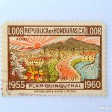 Sellos: ANTIGUO SELLO POSTAL HONDURAS 1956, 0,08 LEMPIRA, PLAN QUINQUENAL, USADO. Lote 226206558