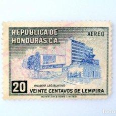 Sellos: ANTIGUO SELLO POSTAL HONDURAS 1956, 20 CENTAVOS, PALACIO LEGISLATIVO, USADO. Lote 226209670