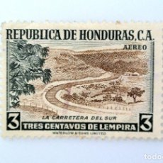 Sellos: ANTIGUO SELLO POSTAL HONDURAS 1956, 3 CENTAVOS, LA CARRETERA DEL SUR, USADO. Lote 226210687