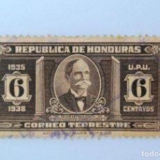 Sellos: ANTIGUO SELLO POSTAL HONDURAS 1935, 6 CENTAVOS, TOMAS ESTRADA PALMA, USADO. Lote 226213630