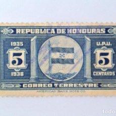 Sellos: ANTIGUO SELLO POSTAL HONDURAS 1935, 5 CENTAVOS, BANDERA, USADO. Lote 226214055