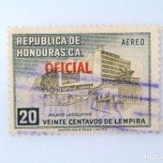 Sellos: ANTIGUO SELLO POSTAL HONDURAS 1956, 20 CENTAVOS, PALACIO LEGISLATIVO, OVERPRINTED ROJO, USADO. Lote 226214727