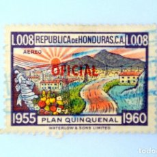 Sellos: ANTIGUO SELLO POSTAL HONDURAS 1956, 0,08 LEMPIRA, PLAN QUINQUENAL ,OVERPRINTED OFICIAL USADO. Lote 226240400