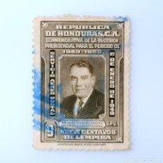 Sellos: ANTIGUO SELLO POSTAL HONDURAS 1949, 9 CENTAVOS, SUCESION PRESIDENCIAL JUAN MANUEL GALVEZ, USADO. Lote 226244220