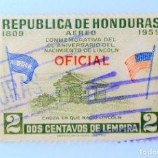 Sellos: ANTIGUO SELLO POSTAL HONDURAS 1959, 2 C, CHOZA EN QUE NACIO LINCOLN, OVERPRINT OFICIAL,USADO. Lote 226270245