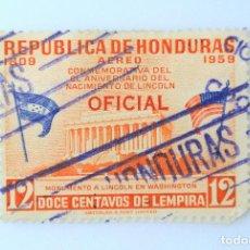 Sellos: ANTIGUO SELLO POSTAL HONDURAS 1959, 12 C, MONUMENTO A LINCOLN EN WASHINGTON ,OVERPRINT OFICIAL,USADO. Lote 226270630