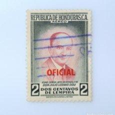 Sellos: ANTIGUO SELLO POSTAL HONDURAS 1956, 2 CENTAVOS DE LEMPIRA, PRESIDENTE JULIO LOZANO DIAZ , USADO. Lote 226414962