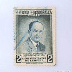 Sellos: ANTIGUO SELLO POSTAL HONDURAS 1956, 2 CENTAVOS DE LEMPIRA, PRESIDENTE JULIO LOZANO DIAZ , USADO. Lote 226415287
