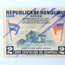 Sellos: ANTIGUO SELLO POSTAL HONDURAS 1959, 2 CENTAVOS, ANIVERSARIO NACIMIENTO LINCOLN, USADO. Lote 226595120
