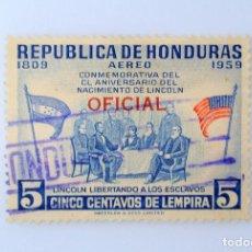 Sellos: ANTIGUO SELLO POSTAL HONDURAS 1959,5 CTS, 150 ANIVERSARIO NACIMIENTO DE LINCOLN,OVPT OFICIAL, USADO. Lote 226628230