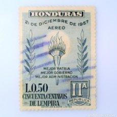 Sellos: ANTIGUO SELLO POSTAL HONDURAS 1959 ,50 CENTAVOS, SEGUNDO ANIVERSARIO DE LA REPUBLICA, USADO. Lote 226812310