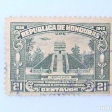 Sellos: ANTIGUO SELLO POSTAL HONDURAS 1939 , 21 CENTAVOS, TEMPLO MAYA PARQUE LA CONCORDIA, USADO. Lote 226815370