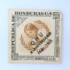 Sellos: ANTIGUO SELLO POSTAL HONDURAS 1956 ,30 CENTAVO, UNICEF OVERPRINT O.N.U.1945-1955,USADO. Lote 226818670