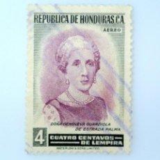 Sellos: ANTIGUO SELLO POSTAL HONDURAS 1956 ,4 CENTAVOS, GENOVEVA GUARDIOLA DE ESTRADA PALMA ,USADO. Lote 226832120