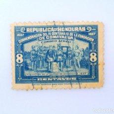 Sellos: ANTIGUO SELLO POSTAL HONDURAS 1938 ,8 CENTAVO, IV CENTENARIO FUNDACION CIUDAD DE COMAYAGUA ,USADO. Lote 226840586