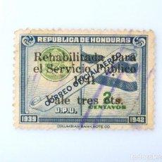 Sellos: ANTIGUO SELLO POSTAL HONDURAS 1941 ,3 CTS, BANDERA HONDURAS Y ESCUDO, OVERPRINT REHABILITADO ,USADO. Lote 226842785
