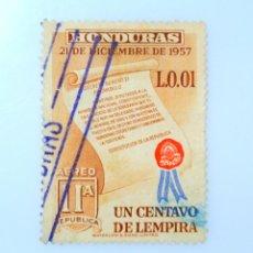 Sellos: ANTIGUO SELLO POSTAL HONDURAS 1959 ,1 CENTAVO,CONSTITUCION 1957 ,USADO. Lote 226844460
