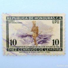 Sellos: ANTIGUO SELLO POSTAL HONDURAS 1957 ,10 CENTAVO, INDIO PRIMER ANIVERSARIO DE LA REVOLUCION ,USADO. Lote 226847515