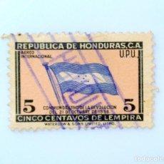 Sellos: ANTIGUO SELLO POSTAL HONDURAS 1957 ,5 CENTAVOS, BANDERA DE HONDURAS,USADO. Lote 226854150