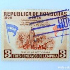 Sellos: ANTIGUO SELLO POSTAL HONDURAS 1959 ,1 CENTAVO, ORACION DE GETTYSBURG, USADO. Lote 226870820