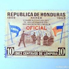 Sellos: ANTIGUO SELLO POSTAL HONDURAS 1959 ,10 CENTAVOS, ASESINATO DE LINCOLN, USADO. Lote 226872650