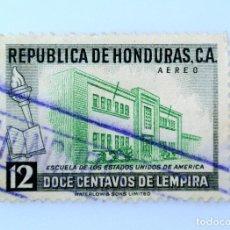 Sellos: ANTIGUO SELLO POSTAL HONDURAS 1956 ,12 CENTAVOS, ESCUELA DE LOS ESTADOS UNIDOS DE AMERICA, USADO. Lote 226875100