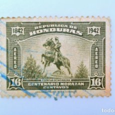 Sellos: ANTIGUO SELLO POSTAL HONDURAS 1942 ,16 CENTAVOS, ESTATUA DE MORAZAN, USADO. Lote 226914960