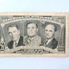 Sellos: ANTIGUO SELLO POSTAL HONDURAS 1949 ,21 CENTAVOS, J.M. GALVEZ, TIBURCIO CARIAS,JULIO LOZANO, USADO. Lote 226916370