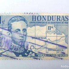 Sellos: ANTIGUO SELLO POSTAL HONDURAS 1961, 1 CENTAVO, REY ALFONSO XIII Y MAPA, USADO. Lote 226918195