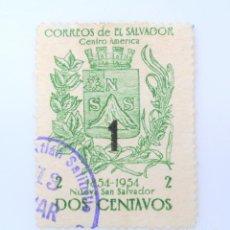 Sellos: SELLO POSTAL EL SALVADOR 1958, 1 C, CENTENARIO NUEVA SAN SALVADOR, OVERPRINT 1, USADO. Lote 233456160
