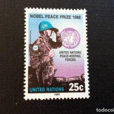 Sellos: PREMIO NOBEL,NACIONES UNIDAS NUEVA YORK Nº YVERT 541*** AÑO 1989. P. NOBEL PAZ FUERZAS MANT. PAZ ONU. Lote 235194880