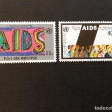 Sellos: MEDICINA. NACIONES UNIDAS NUEVA YORK Nº YVERT 570/1*** AÑO 1990. LUCHA CONTRA EL SIDA. Lote 235195490