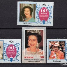 Sellos: SAN VICENTE 917/20** - AÑO 1986 - 60º ANIVERSARIO DE LA REINA ISABEL II. Lote 235731430