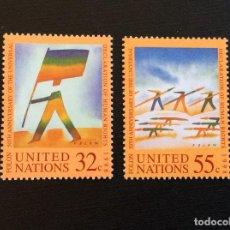 Sellos: NACIONES UNIDAS NUEVA YORK Nº YVERT 773/4*** AÑO 1998. 50 AÑOS DECLARACION DERECHOS HUMANOS. Lote 235845225