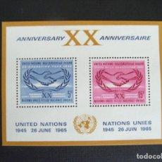 Sellos: NACIONES UNIDAS NUEVA YORK Nº YVERT HB 3*** AÑO 1965.20 ANIVERSARIO DE LA ONU. Lote 236269990