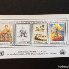 Sellos: NACIONES UNIDAS NUEVA YORK Nº YVERT HB 9*** AÑO 1986.40 ANIVERSARIO DE FMANU. PINTURA DE S. DALI. Lote 236835305