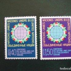 Sellos: NACIONES UNIDAS GINEBRA Nº YVERT 58/9*** AÑO 1976 CONFERENCIA ONU SOBRE HABITAT. Lote 236837930
